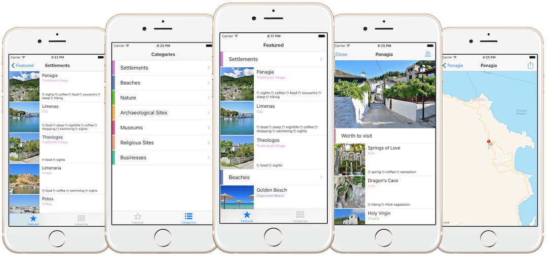 Explore Thassos iOS Application Screenshots